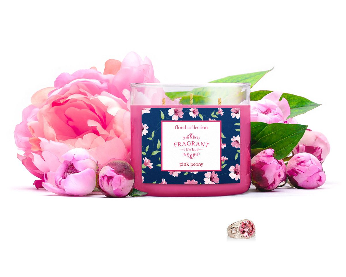 Most Fragrant Candles Pink Peony Tri Wick Jewel Candle Fragrant Jewels And