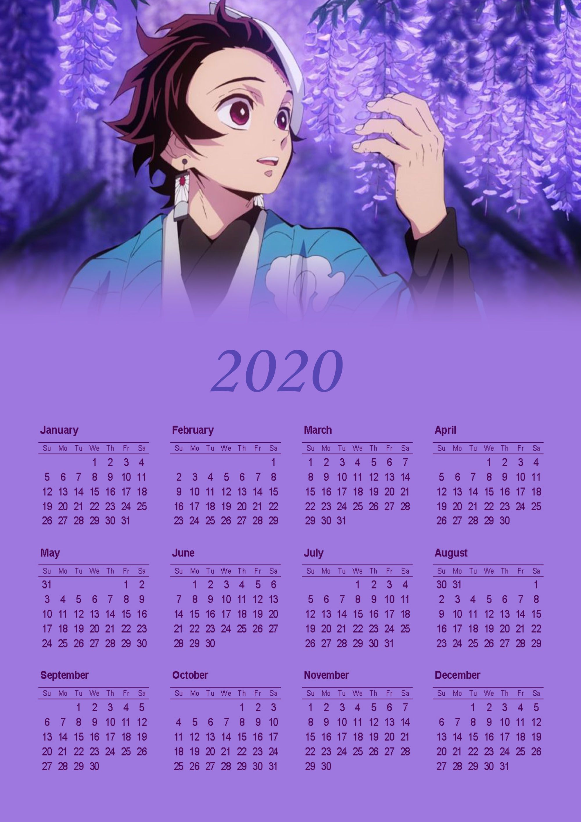 2020 calendar em 2020 Anime, Desenhos