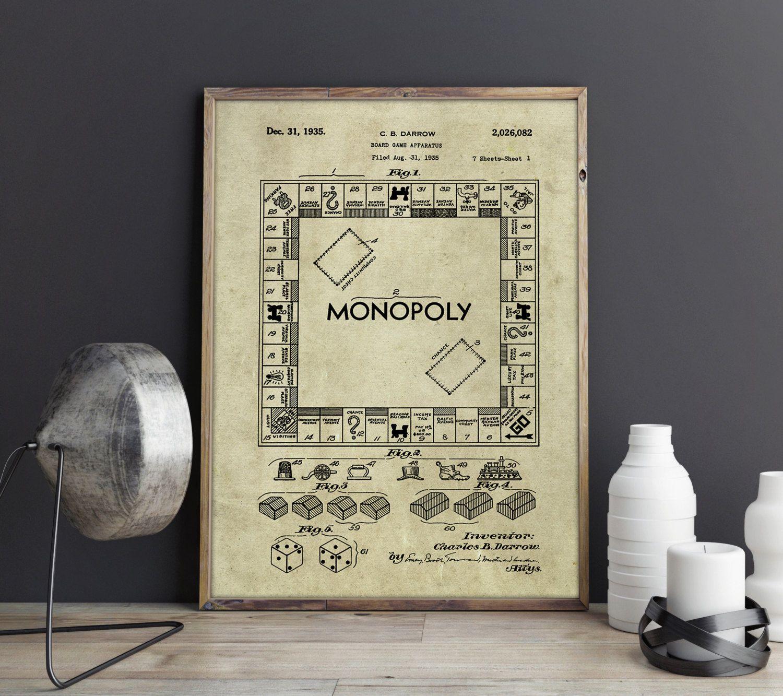 Monopoly Poster, Monopoly Art Print , Monopoly Art, Monopoly ...