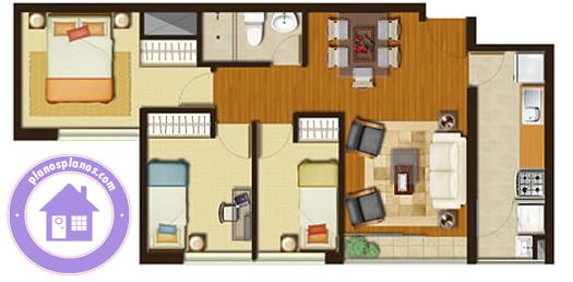Plano departamento chico con 3 dormitorios planos de for Planos de departamentos de una habitacion