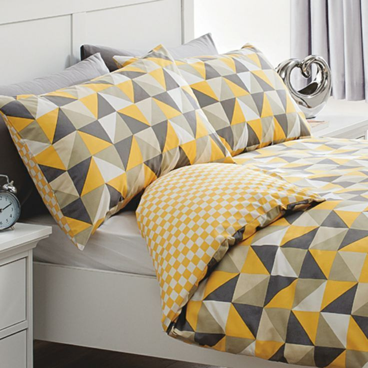 Yellow Grey Monochrome Triangles Duvet Cover Bedding Set