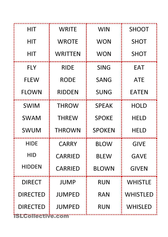 worksheet Participle Worksheets infinitive past simple participle pinterest verb par