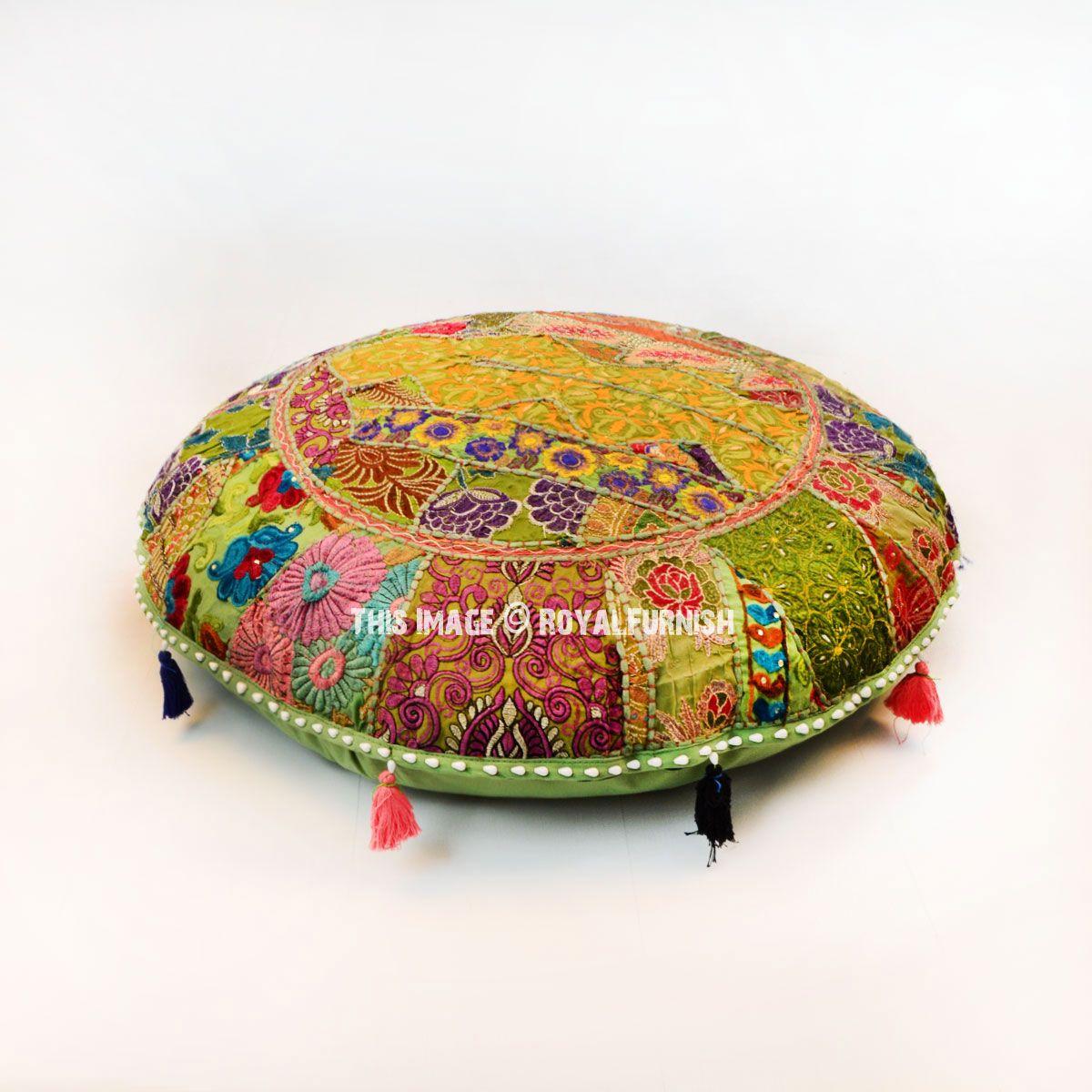 32 green round indian bohemian patchwork floor pillow