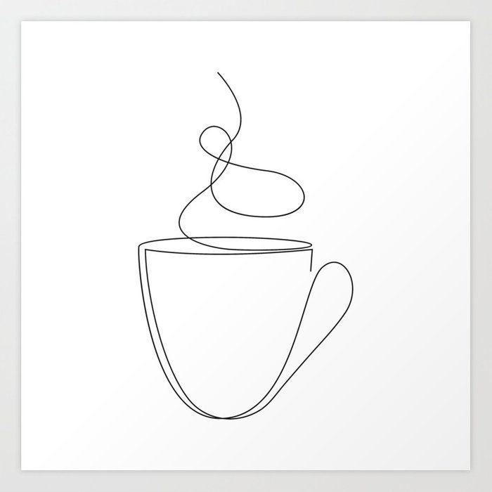 Buy coffee or tea cup - line art Art Print by dronathan. Worldwide shipping available at Society6.com. Just one of millions of high quality products available.