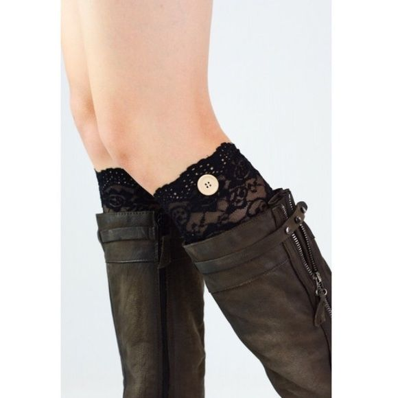 Lace Button Boot Cuffs! - 2 colors! Our beautiful All Lace Boot Cuffs. They show above your boot for the cutest look.  100% Acrylic  Available in Black or Champagne Harper Trends Accessories Hosiery & Socks
