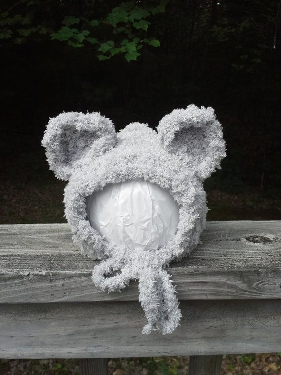 Light Gray Mouse Inspired Baby Bonnet by Blooming Rose Crochet. $14.00