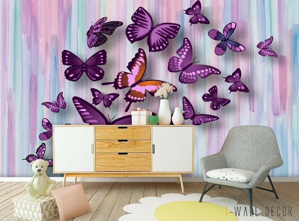3d Butterfly Wallpaper Nursery Wall Mural Pink Purple Girl Bedroom Self Adhesive Nursery Wall Murals Purple Girls Bedroom Nursery Wallpaper