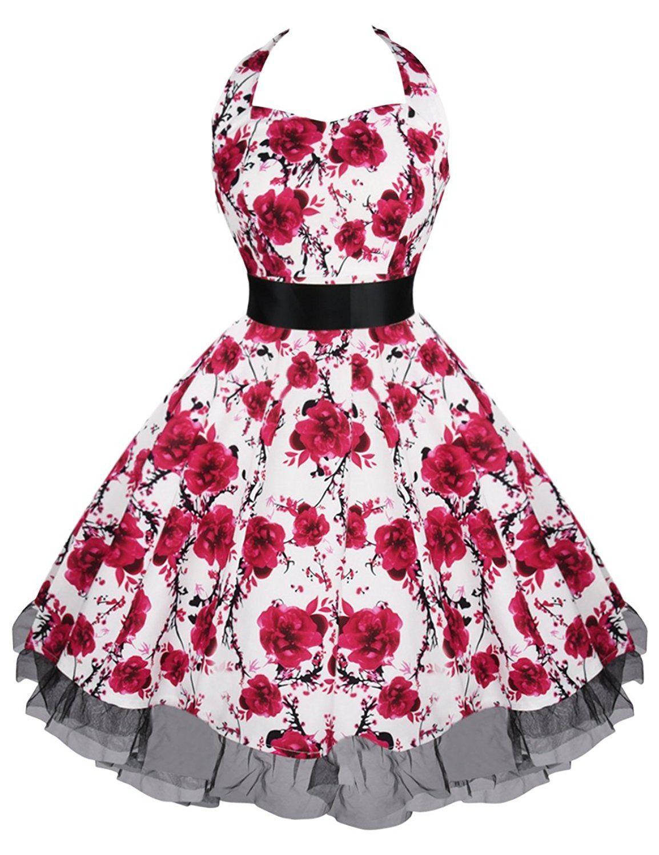 Là Vestmon Damen Neckholder Retro Vintage Rockabilly Kleid ...