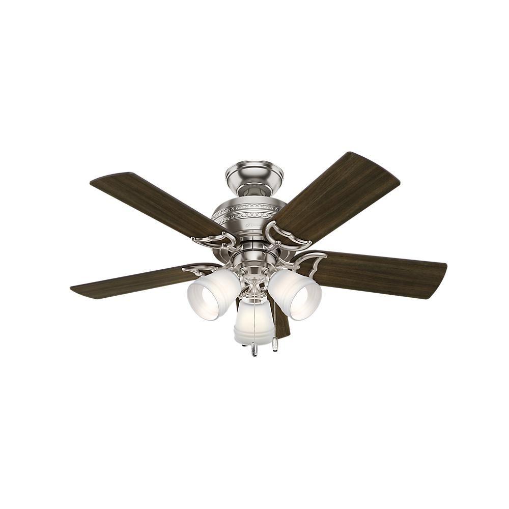 Hunter prim in led light indoor brushed nickel ceiling fan