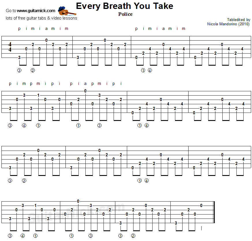 Every Breath You Take - guitar chords tablature | Guitar | Pinterest ...