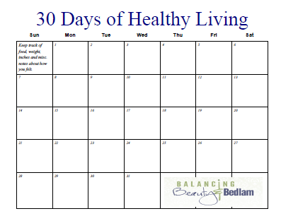 Printable Fitness Calendar (30 Days of Healthy Living | Fitness ...