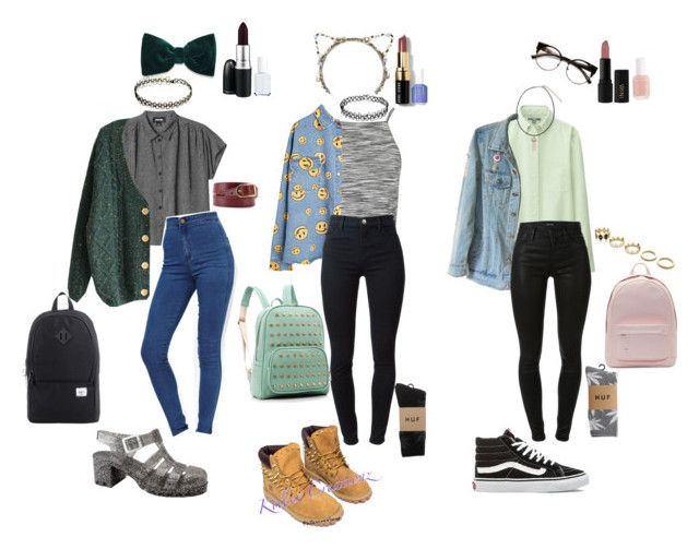 """90s Grunge school outfits"" by stellaluna899 ❤ liked on Polyvore featuring Topshop, Eugenia Kim, Bobbi Brown Cosmetics, MAC Cosmetics, Monki, ASOS, Balenciaga, Essie, Uniqlo and House of Harlow 1960"