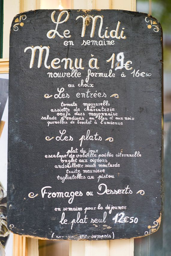 Paris Chalkboard Photography Menu Sign Fine Art  For The Love Of