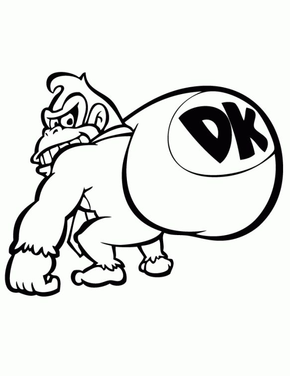 Donkey Kong Coloring Page To Print Out Letscolorit Com Donkey Kong Super Coloring Pages Coloring Pages To Print