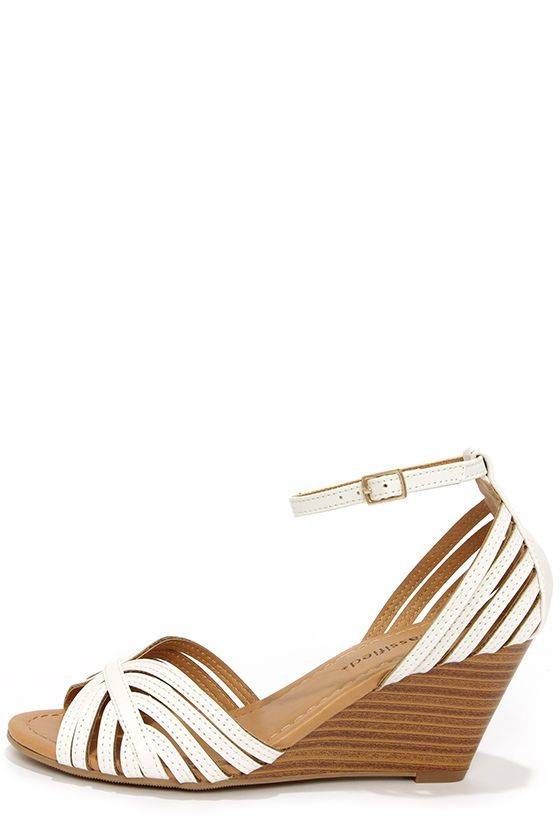 City Classified Ashley Off White Strappy Peep Toe Wedge Sandals