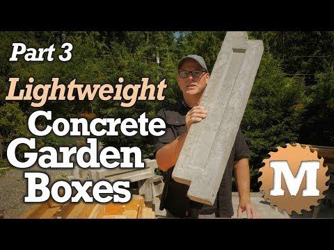 16 Make Lightweight Concrete Garden Boxes Part 3 Aircrete Vermiculite Lava Rock Youtube Concrete Garden Garden Boxes Concrete