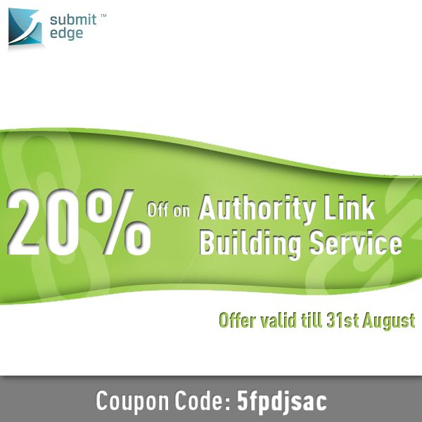 Hurry! We are offering 20% off on our Authority Link Building service! This offer is valid till 31st August, 2013. Use the coupon code while purchasing.  If you have any queries, feel free to contact us on support@submitedge.com