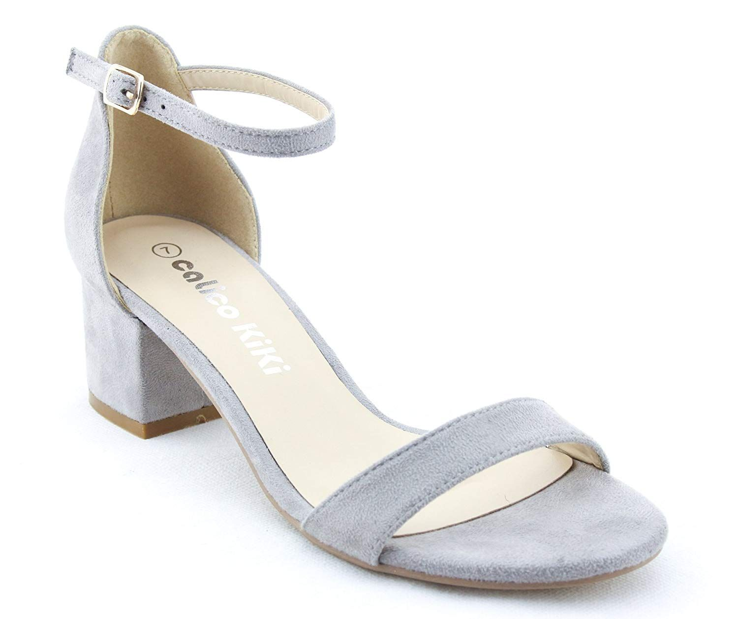 553beae12b CALICO KIKI Women's Buckle Ankle Strap Low Block Heel Open Toe Heeled  Sandals -- Nice of your presence to drop by to visit the picture.