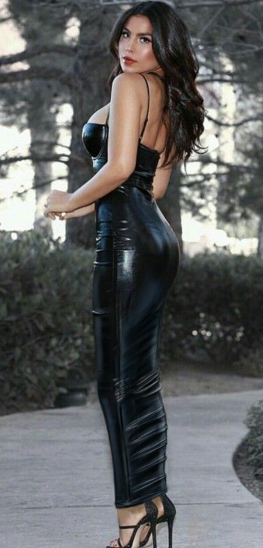 Long Black Latex Hobble Dress Hobble Dress Skirt