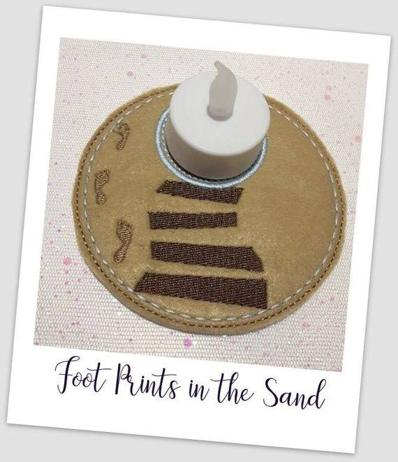 Beach Hut Machine Embroidery Design: DIGITAL PATTERN, Foot Prints In The Sand, 4x4 Embroidery