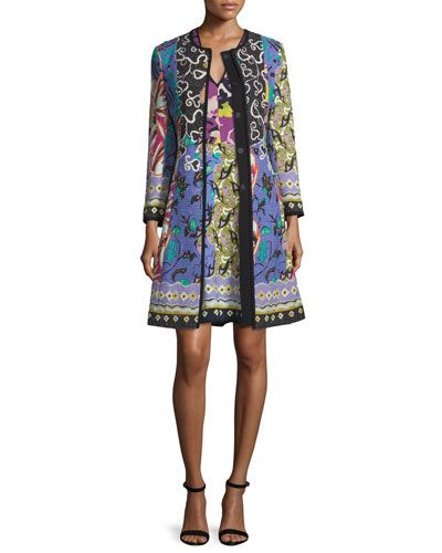 -6JFF Etro  Floral-Patchwork Topper Coat, Blue/Purple V-Neck Floral-Patchwork Cady Sheath Dress, Blue/Purple