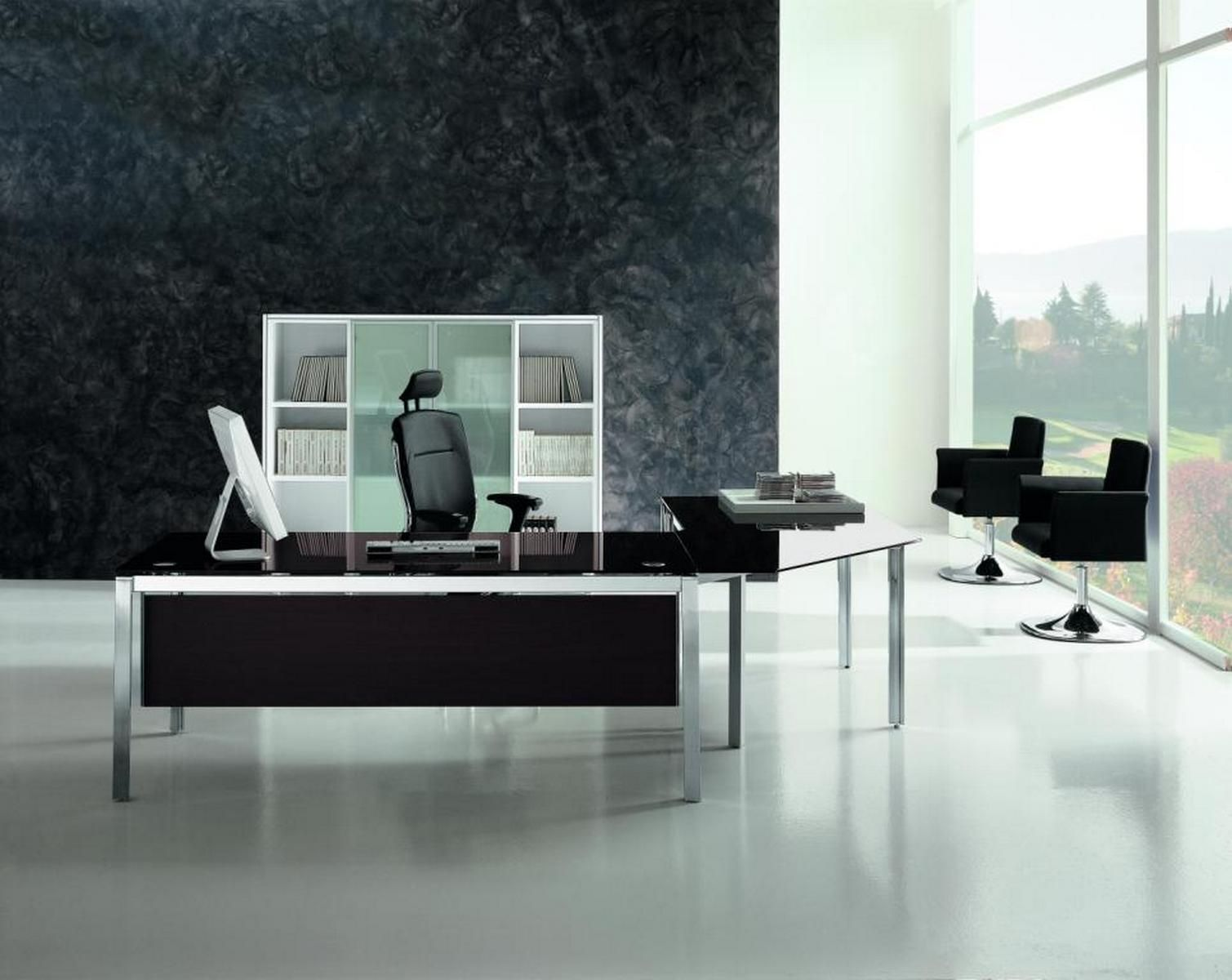 Black glass executive desk | X4- Benching, Desking, Executive ...