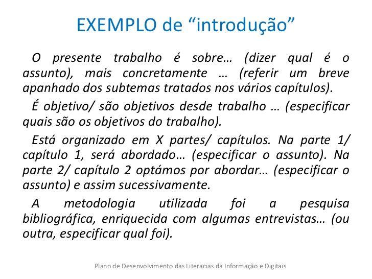 Exemplos de introdução de trabalho escolar