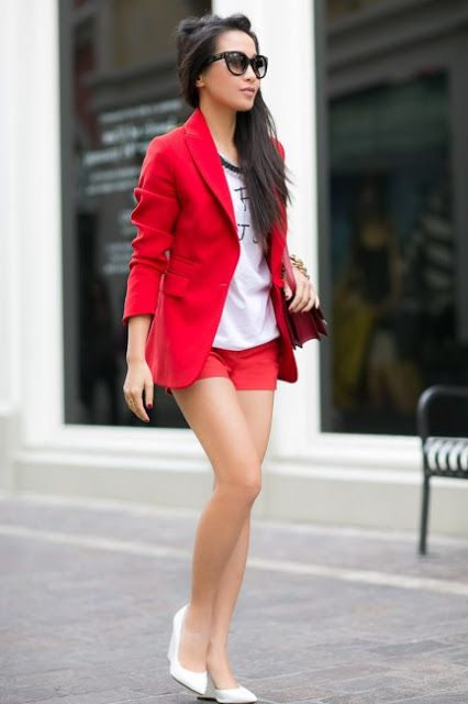 matching shorts and blazer | red shorts Shorts Suit..... A Must ...