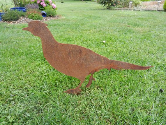 Rusty Metal Pheasant Decor Gift Garden