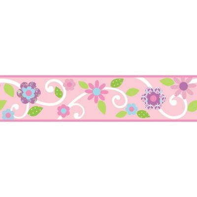 Roommates Pink Floral Scroll Peel Stick Wall Border Bedbathandbeyond Com Peel And Stick Wallpaper Floral Wall Border Floral Border