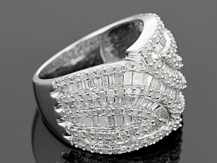 Pre Owned Diamond 10k White Gold Ring 2 50ctw In 2020 White Gold Rings White Gold Wide Band Rings
