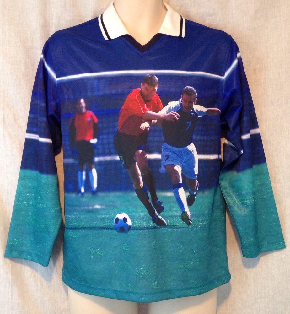 Vintage 90s Tommy Hilfiger Men\'s Medium Soccer Player Photo Print ...