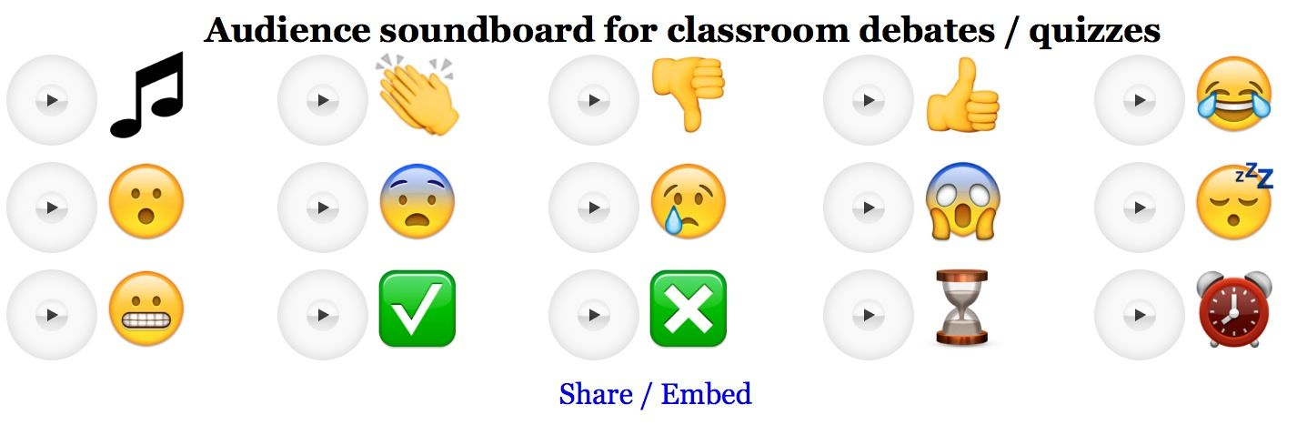 I have recently coded an online 'audience soundboard' for