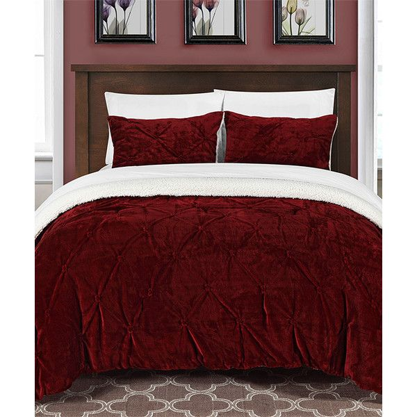 Chic Home Design Burgundy Eugenia Pinch Sherpa-Lined Comforter Set ...