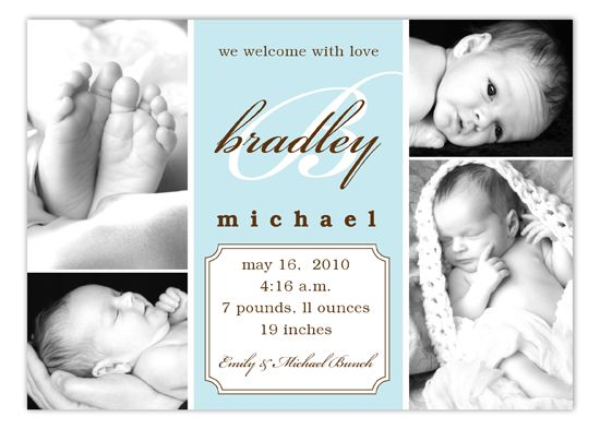 Baby Blue Script Initial Collage Photo Card – Inexpensive Birth Announcements