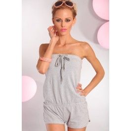02777fd954b8 HEATHER GREY STRAPLESS TUBE TOP ONE PIECE ROMPER SHORTS