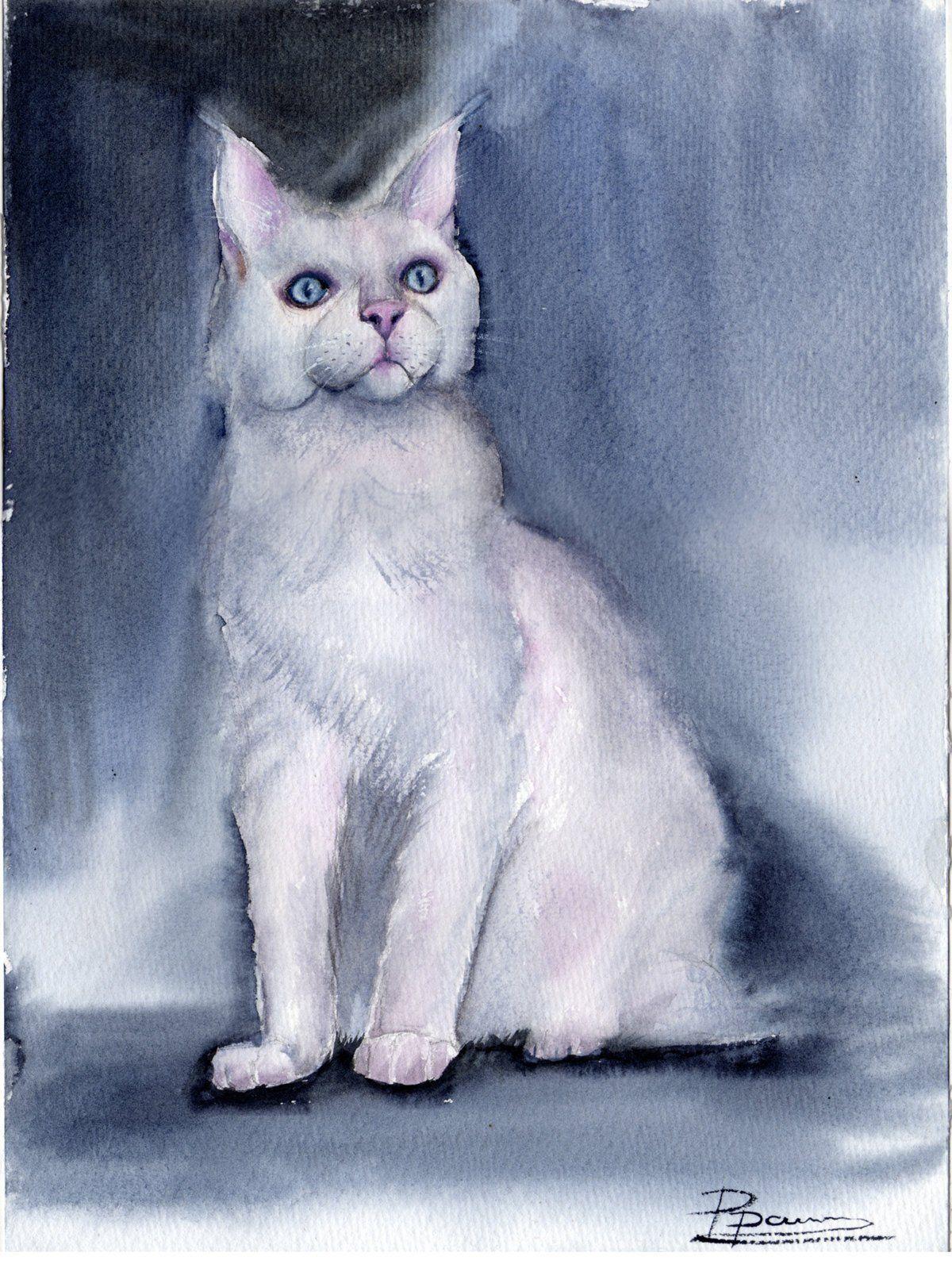 White Cat painting Original Watercolor Wall art decor