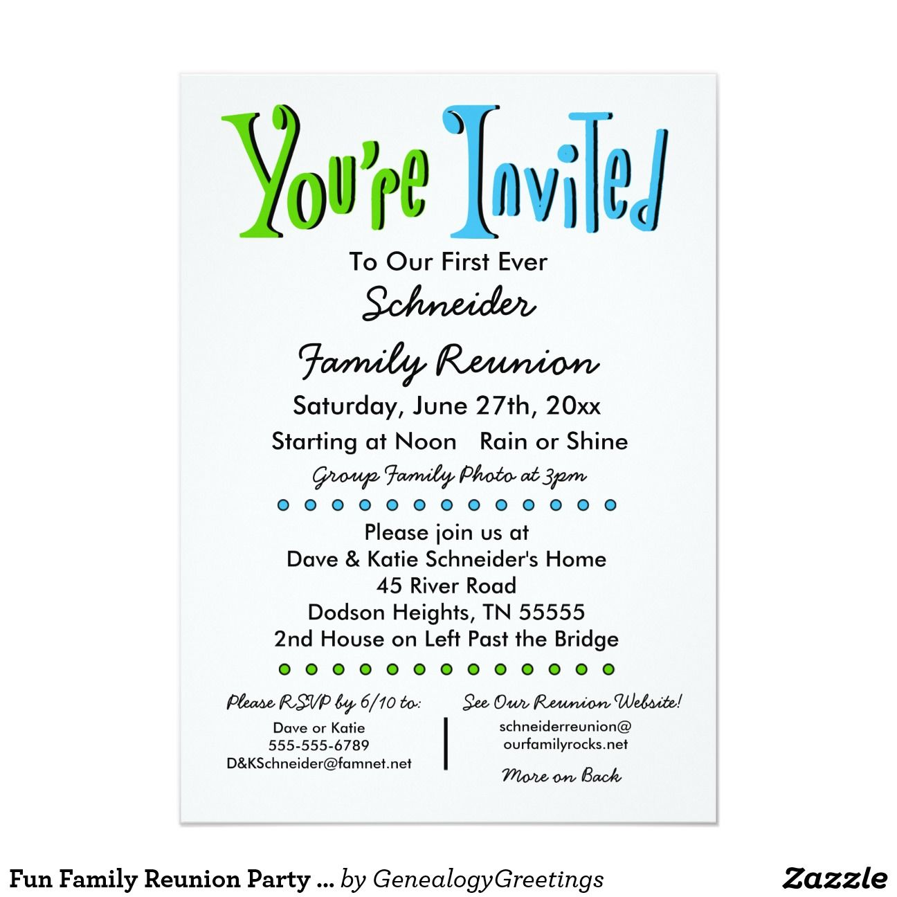 Fun Family Reunion Party or Event Invitation 5\