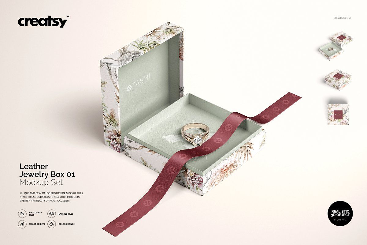 Download Jewelry Box Mockup Set 01 Bag Mockup Leather Jewelry Box Box Mockup