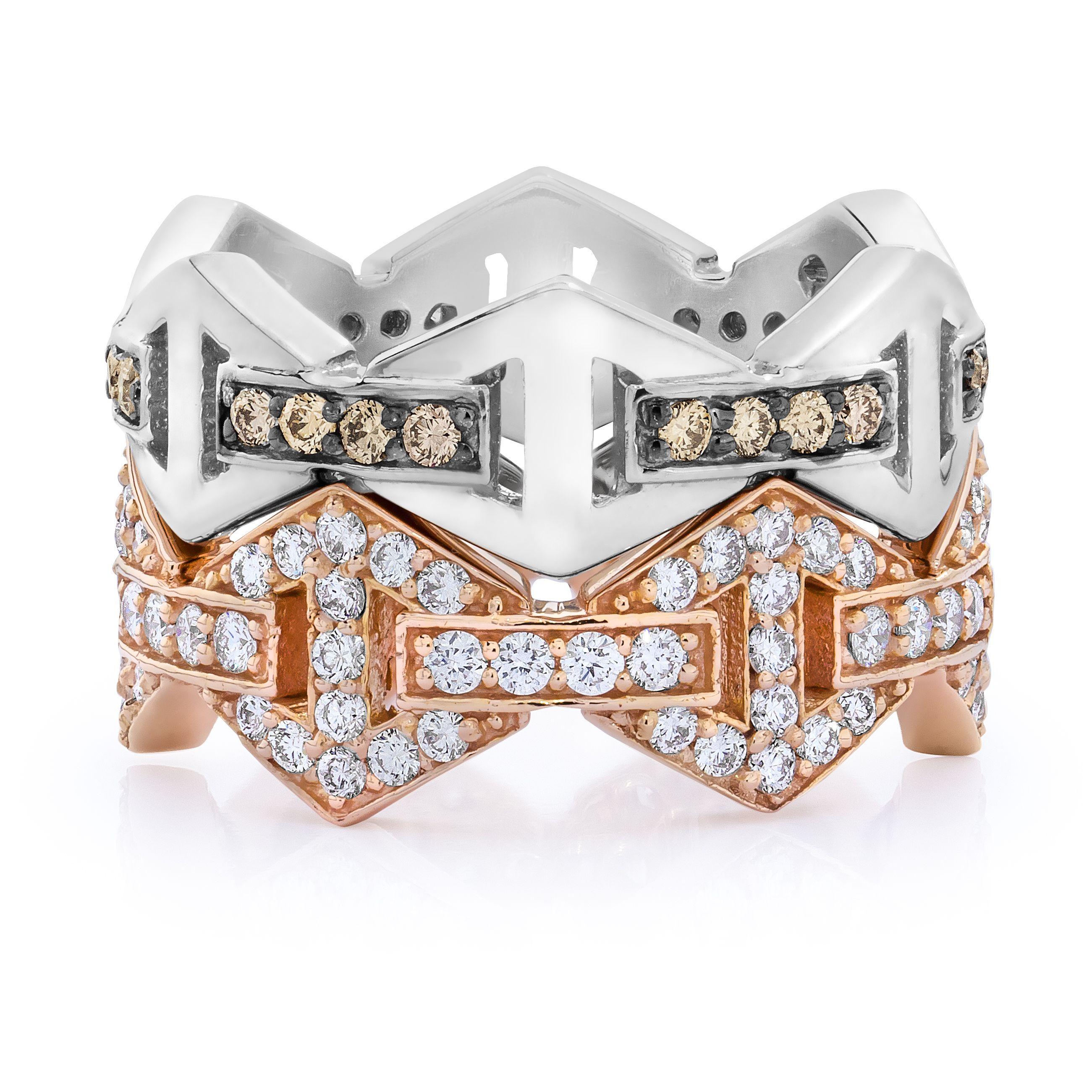 Walters Faith Keynes 18K Signature All Diamond Hexagon Stackable Ring Silver oUwVN