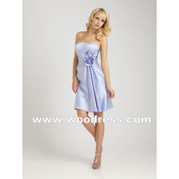 A-line Party Gown Satin Light Purple Bridesmaid Dresses Style 1255