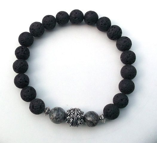 page bracelet rock spacer black silver volcano beads products with beaded tibetan lava volcanic aromatherapy namaste