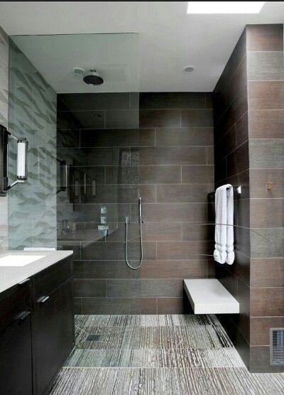 Douche avec banc salle bain zen pinterest douches for Douche italienne avec banc