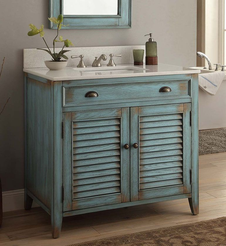The Adelina 36 inch Antique Bathroom Vanity plantation-inspired look of  this cottage-style - Pin By Bathrooms Direct On Distressed Bathroom Vanities Pinterest