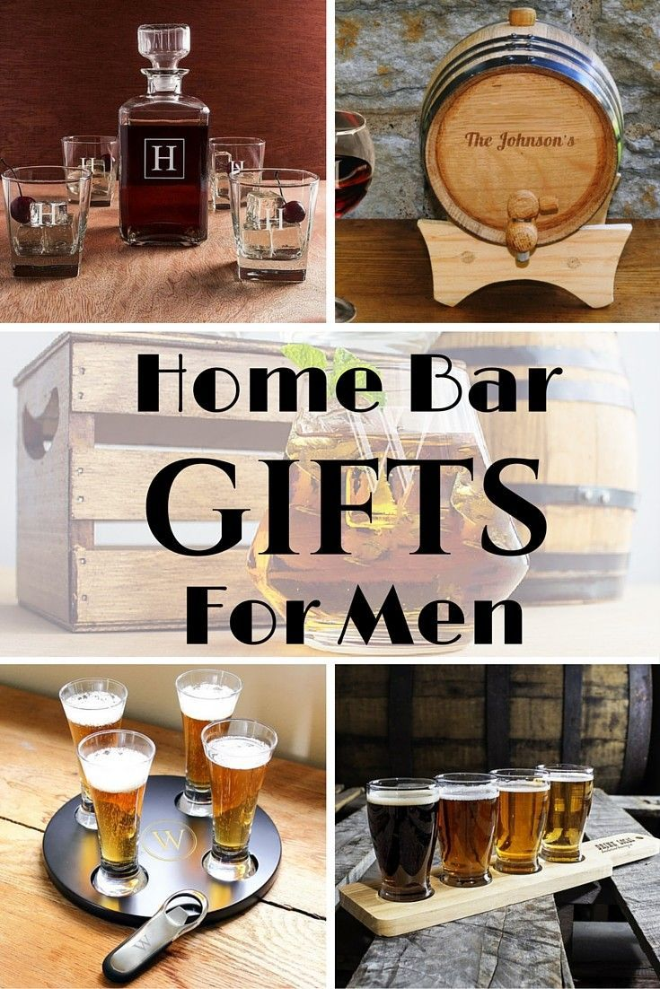 Home bar gifts like a whiskey decanter and glasses set or