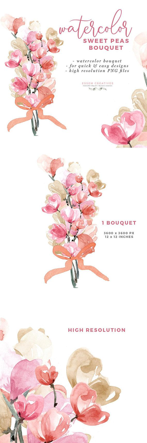 Watercolor Sweet Peas Bouquet Clipart, Wedding Invite Clipart ...