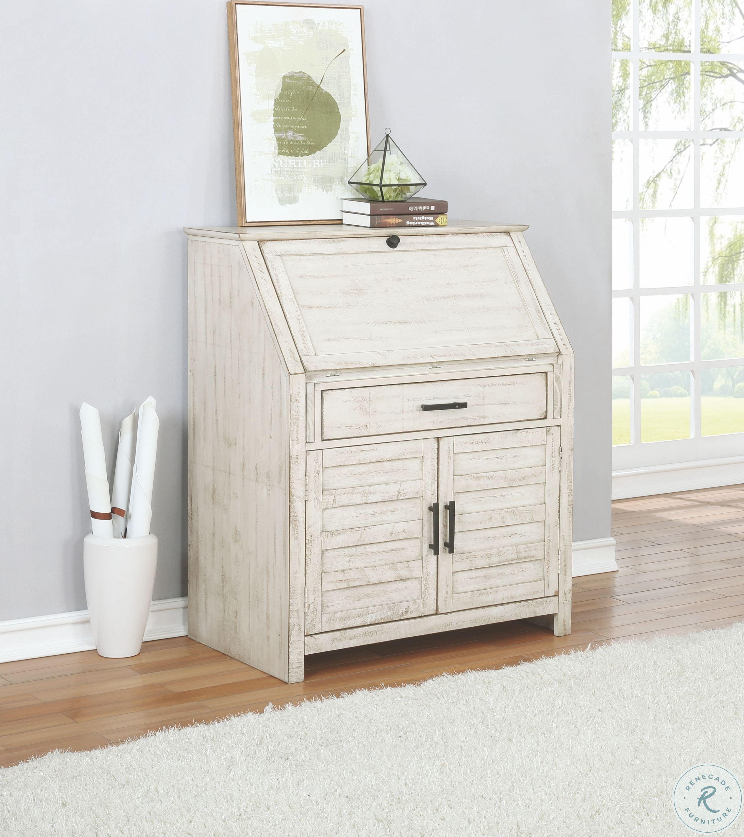 Margaret Antique White Secretary Desk In 2020 White Secretary Desk Secretary Desks Coaster Furniture