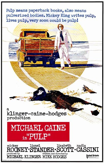 Michael Caine is a pulp fiction writer with more enemies every minute, in Mike Hodges' crime-comedy Pulp (1972).