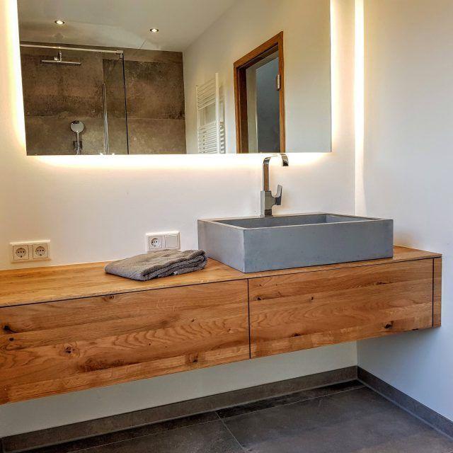 Einbau Waschtisch Mit Beton Waschbecken L Badezimmer Badmobel Badezimmermobel Badmobel Set Spiegels In 2020 Bathroom Vanity Lighted Bathroom Mirror Bathroom Mirror
