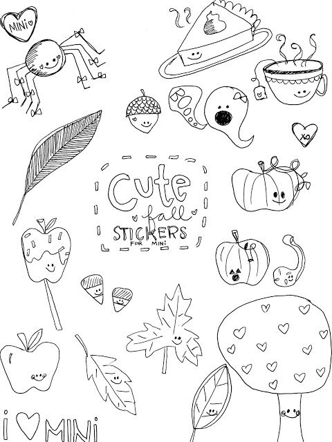 Printable Freebie - Cute Fall Stickers (With images ...